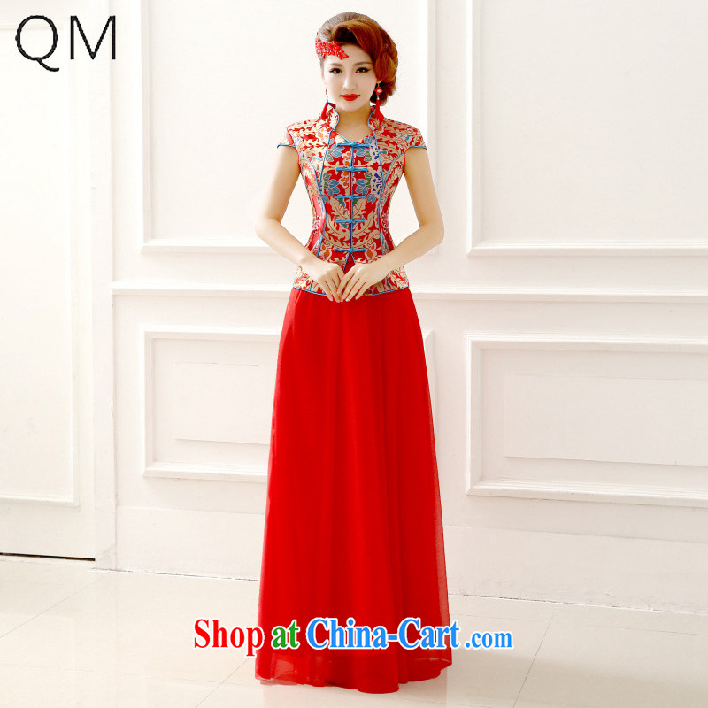 Light _at the end QM_ Marriages short-sleeved sexy improved cheongsam wedding bridal replacing CTX QP 137 red XXL