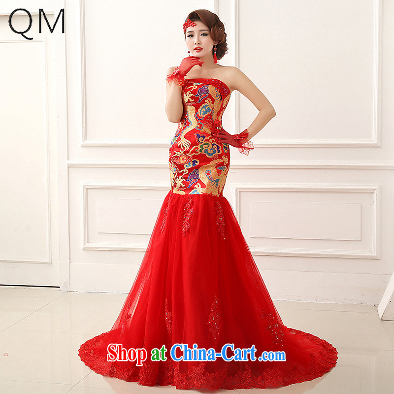 Shallow end (QM ) Sau San crowsfoot tail dress dragon robe married Mary Magdalene toast chest Chinese Dress CTX LF 252 red XXL