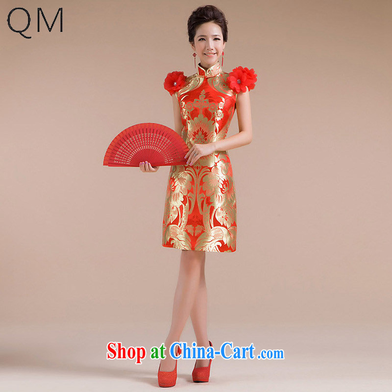 Light (at the end QM) Wedding Ethnic Wind short cultivating marriages improved Chinese qipao CTX QP - 106 red XXL