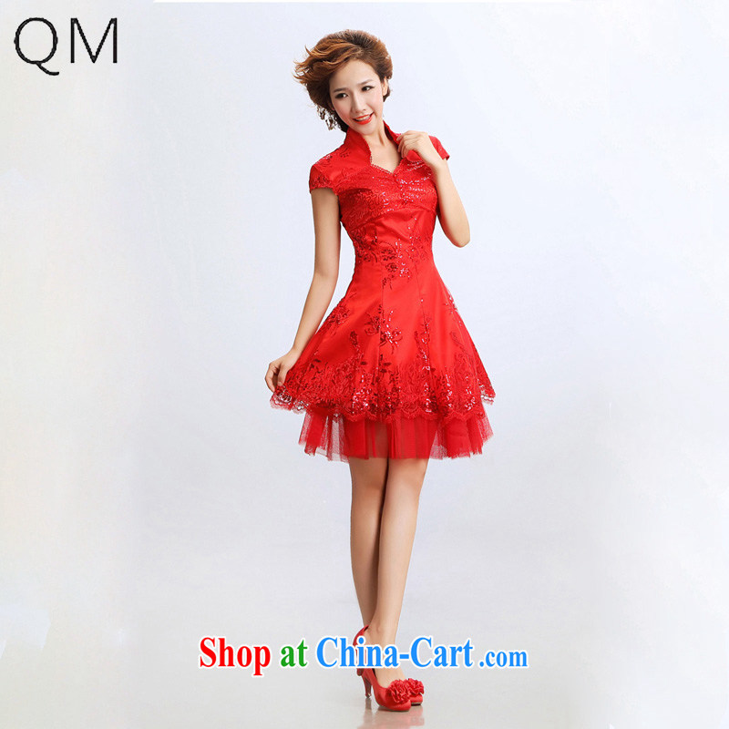 Shallow end _QM_ short cheongsam improved stylish bridal wedding dresses CTX red XXL