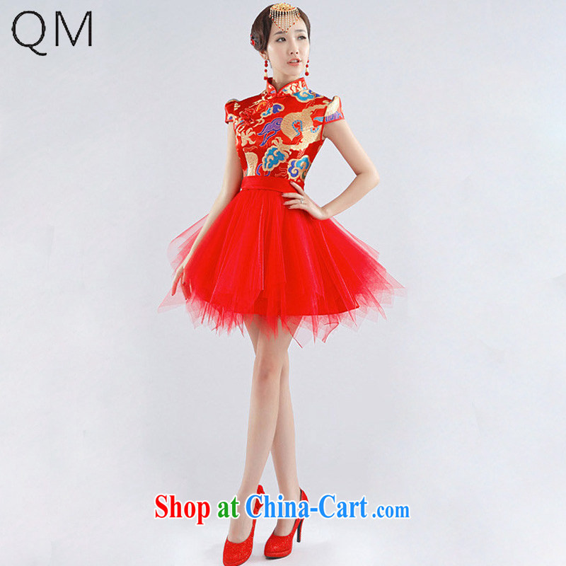 Light _at the end QM_ Wedding sexy short Chinese small dress beauty wedding dresses toast CTX QP - 117 red XXL