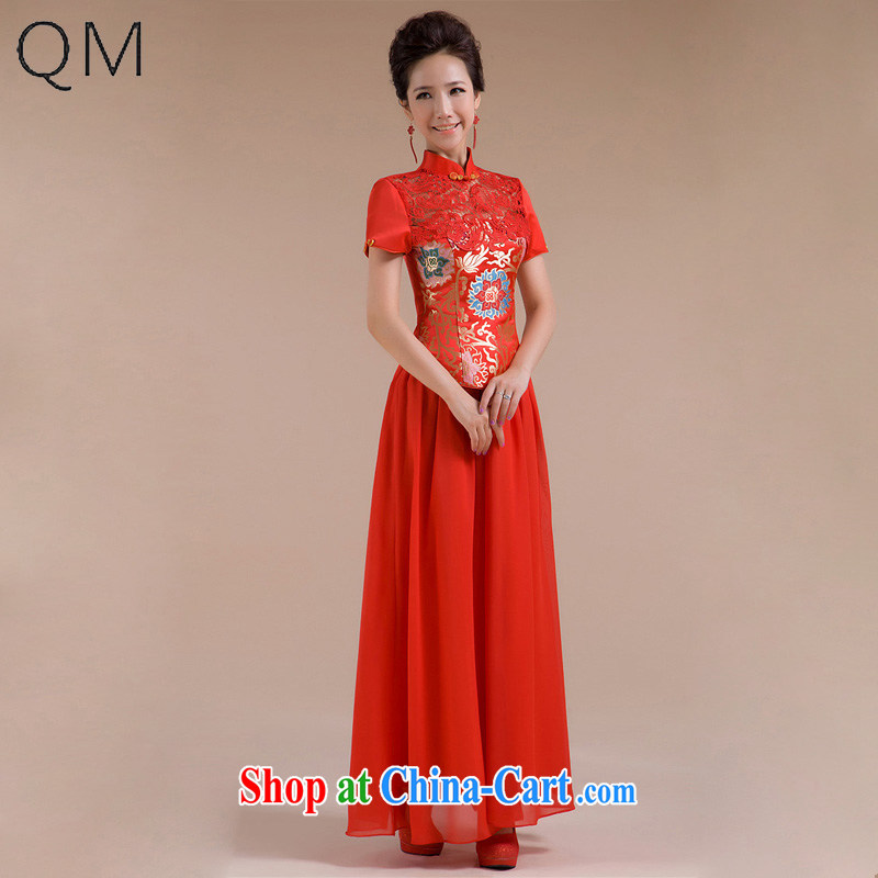 Shallow end _QM_ wedding, fashionable improved red embroidery bridal wedding wedding dresses CTX QP - 101 red XXL