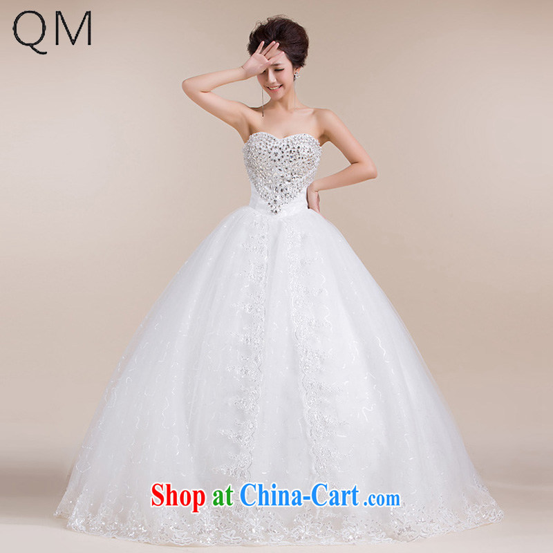 Shallow end _QM_ Wedding heart-shaped chest bare, decorated with lace dragging skirts wedding dresses CTX HS 551m White XXL