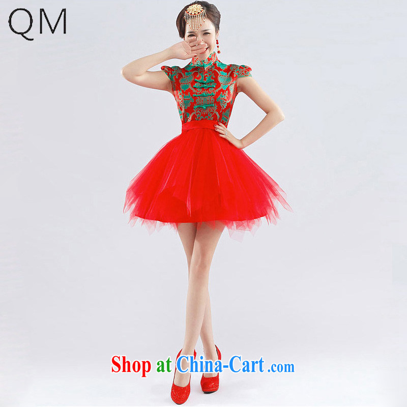 Light _at the end_ QM lace sexy short Chinese small dress beauty wedding dresses toast CTX QP - 116 red XXL