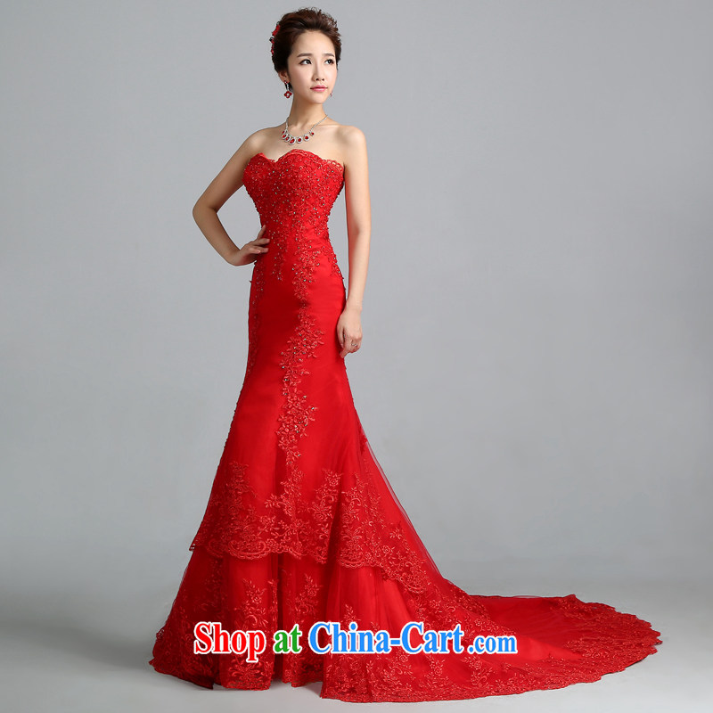 Jie MIA wedding dresses 2014 new Korean red wiped his chest lace-tail crowsfoot wedding tie the code autumn female Red XS