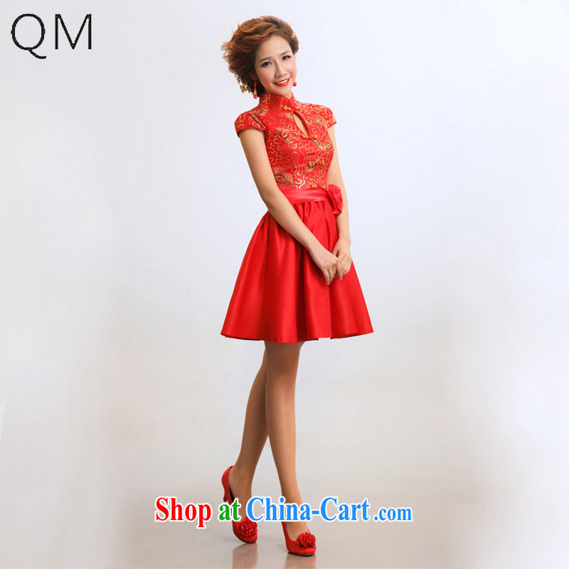 Shallow end (QM) Improved cheongsam stylish short dresses bridal wedding wedding dresses qipao CTX red XXL