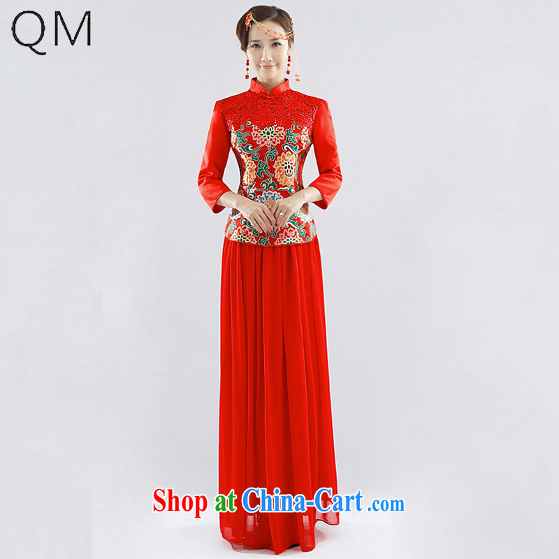 Light _at the end_ QM Xiangyun brocade coverlets for gross marriages served toast long-sleeved qipao gown CTX QP - 115 red XXL