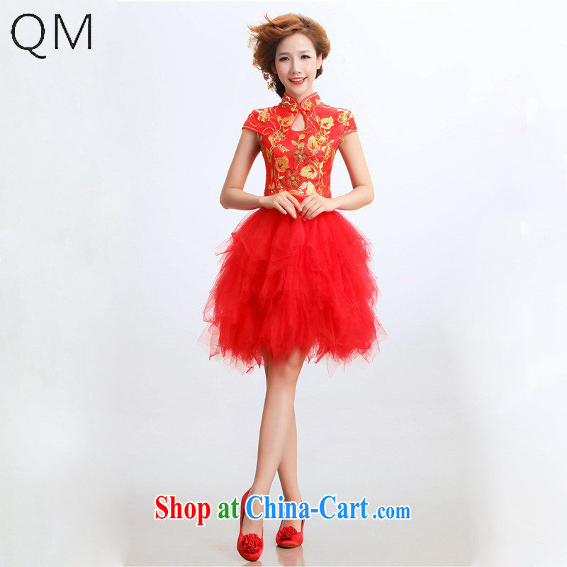 Shallow end (QM) bridal short cheongsam improved stylish marriages wedding dresses CTX red XXL