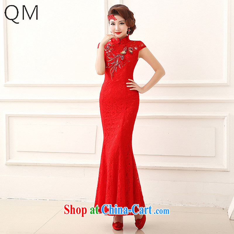 Shallow end _QM_ Marriages retro lace cheongsam crowsfoot long red bows cheongsam CTX QP 153 red XXL