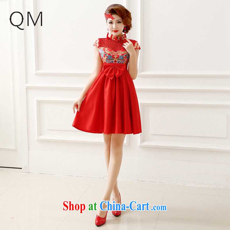 Light (at the end QM) Marriages water-soluble lace package shoulder short-sleeved long cheongsam-night ceremony CTX QP - 139 red XXL