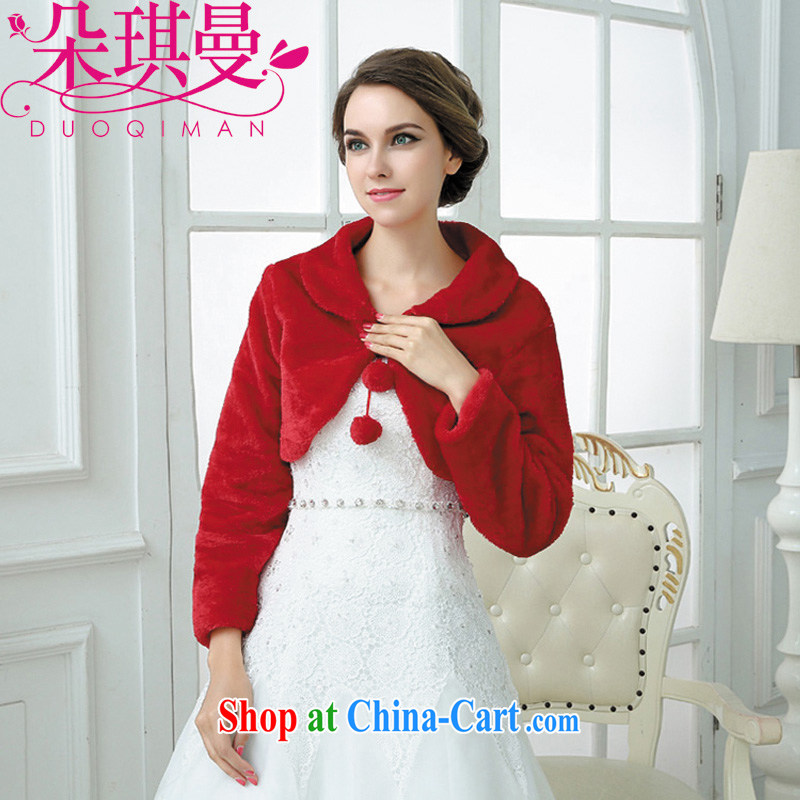 2014 fall/winter new bridal wedding dresses warm jacket red with adjustable long-sleeved wool shawls