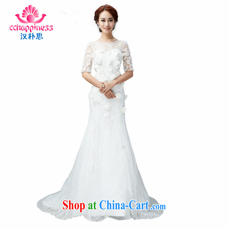 Han Park _cchappiness 201 new field for palace retro package and cultivating graphics thin-waist bridal wedding white XXL
