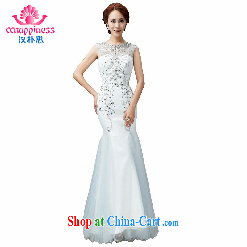 Han Park _cchappiness_ 2015 New Beauty crowsfoot with Princess, with long skirt bridal wedding white XXL _7 days shipping_