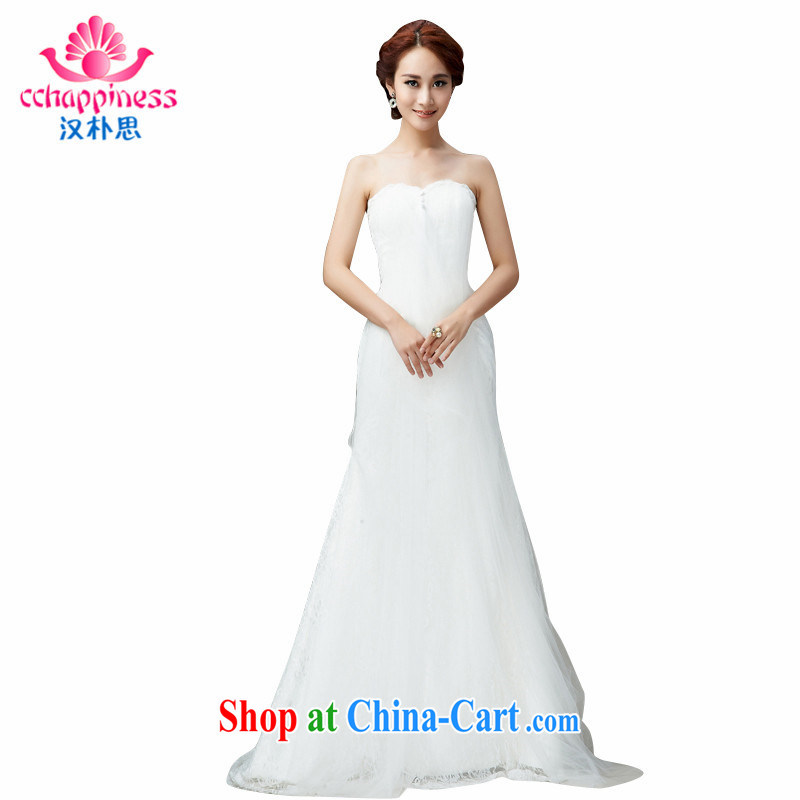 Han Park _cchappiness_ 2015 new stylish erase chest lace and yarn bridal wedding zipper crowsfoot-waist small tail wedding white XXL _7 Day Shipping_