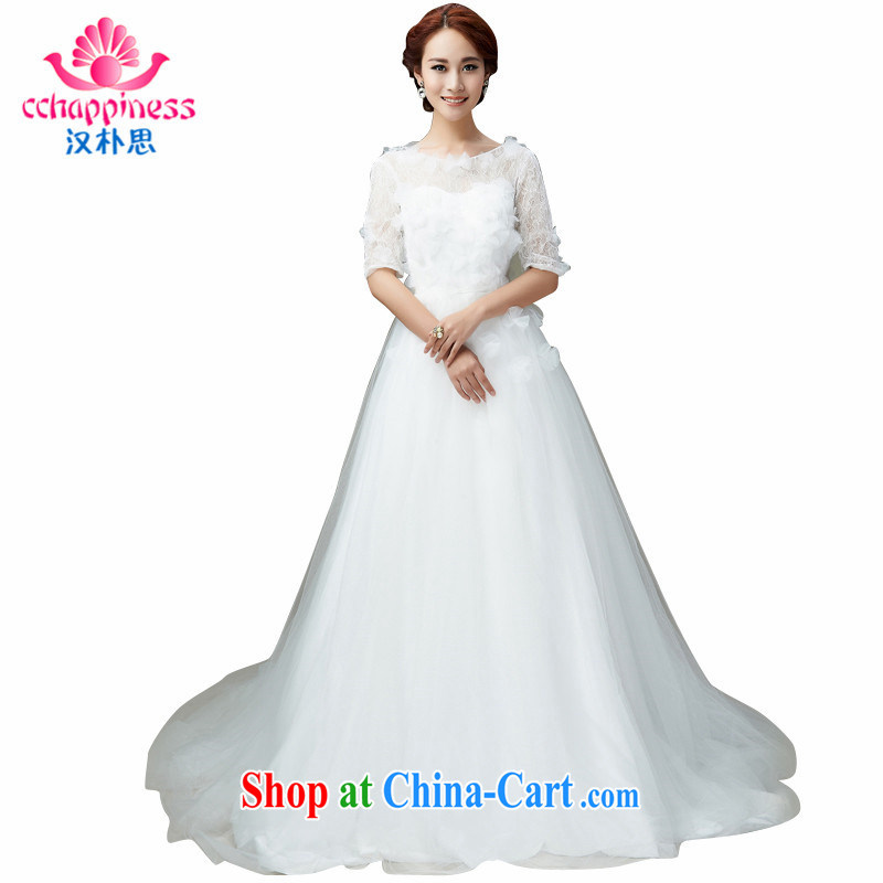 Han Park _cchappiness_ 2015 new field for the lumbar Cultivating Female high-waist style long bridal wedding white XXL lightning shipping