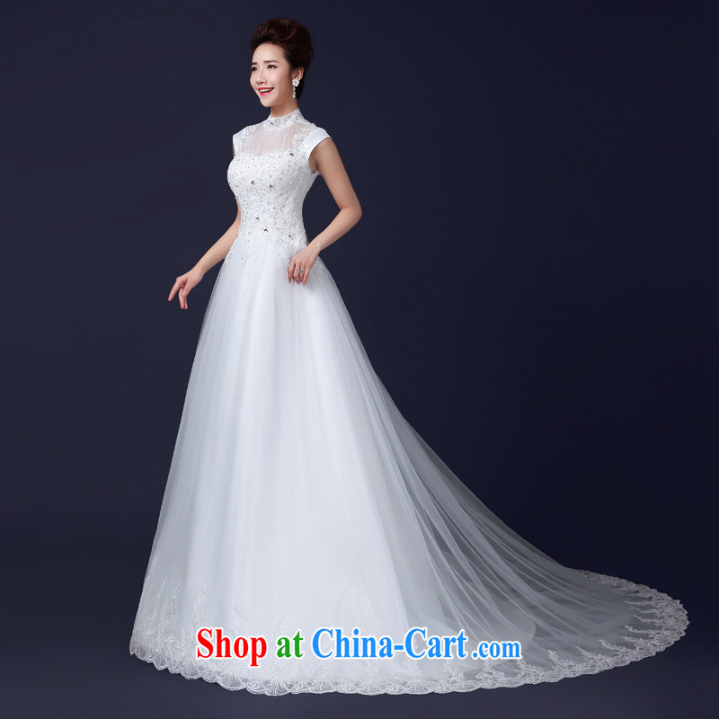 Jie MIA tail wedding dresses new 2015 new stylish red wedding package shoulder winter, Bridal crowsfoot lace larger white XXL