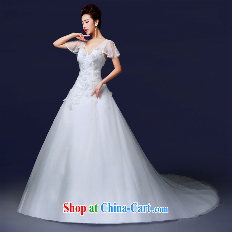Jie MIA new 2014 stylish shoulders V for simple small-tail back exposed wood drill crowsfoot custom bridal wedding female Korean white XXL