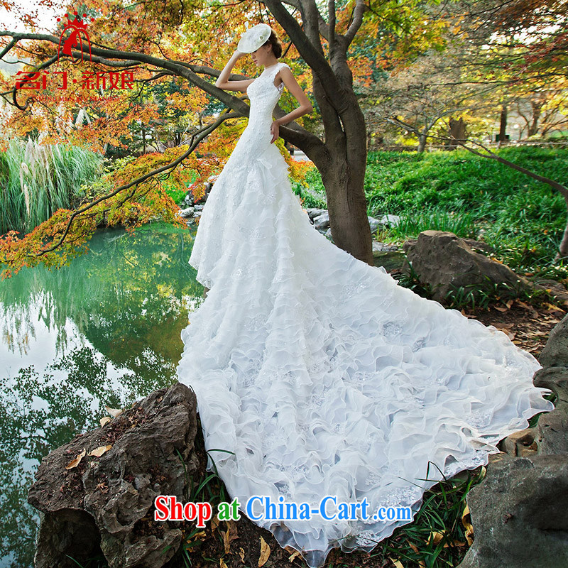 The bride's wedding dresses new 2015 stylish Original Design crowsfoot large tail wedding 2531 L