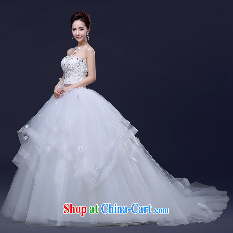 Jie MIA tail wedding dresses new spring 2015 Korean fashion bridal alignment to the shoulder wiped his chest to tie the code erase chest tail XXL
