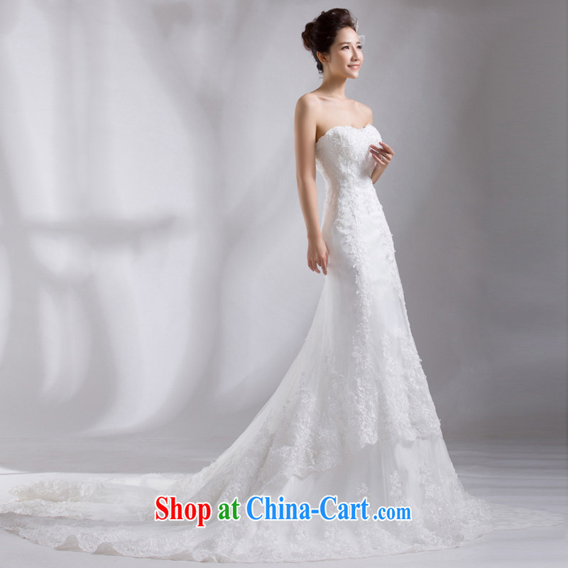 Cheng Kejie MIA crowsfoot wedding dresses new 2015 tail Korean fashion wiped his chest bridal lace red code binding with winter white 1M tail XXL