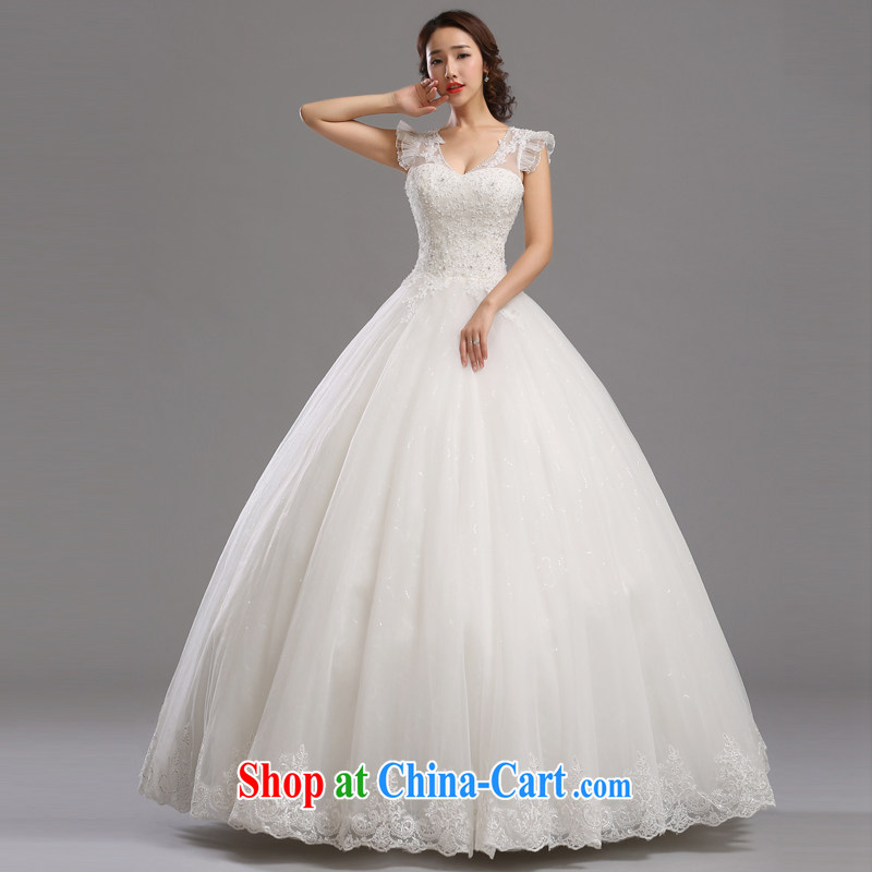 Jie MIA wedding dresses 2014 new Korean bridal wedding lace shoulders Deep V collar with shaggy dress the code strap XXL