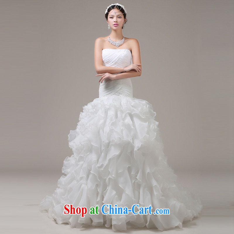 Jie MIA crowsfoot wedding dresses 2014 new Korean version field shoulder retro beauty graphics thin tail wedding XXL