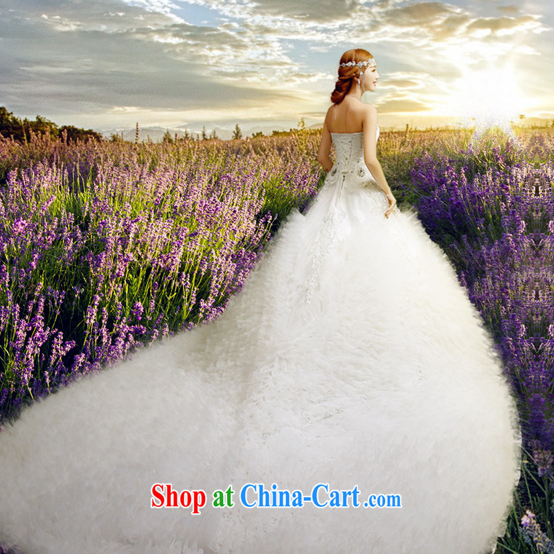 Code hang bridal 2015 spring and summer luxurious wedding long-tail wedding feather wedding new lace wedding chest bare wedding fashion strap wedding high-end custom wedding white XL
