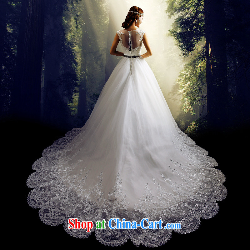 Code hang bridal 2014 new wedding stylish wedding long-tail wedding, wedding custom wedding video thin wedding lace wedding field shoulder wedding white XXXL