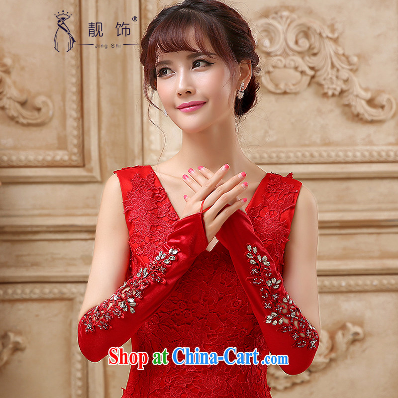 Beautiful ornaments 2015 New Red bridal gloves wedding dresses accessories accessories shadow building supplies red kit is long, 7 107 days without reason