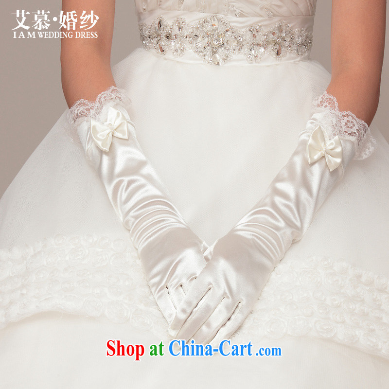 With the 2015 summer new wedding dresses advanced Satin long bow-tie lace parquet fall married women gloves