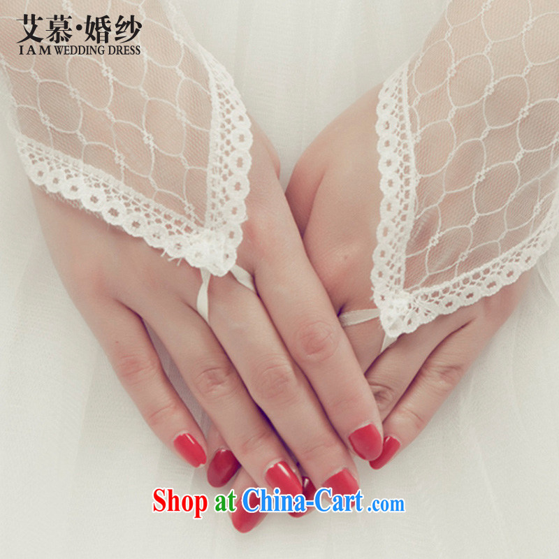 With the 2015 new wedding bridal mandatory accessories short lace gloves without a terrace that gauze lace gloves