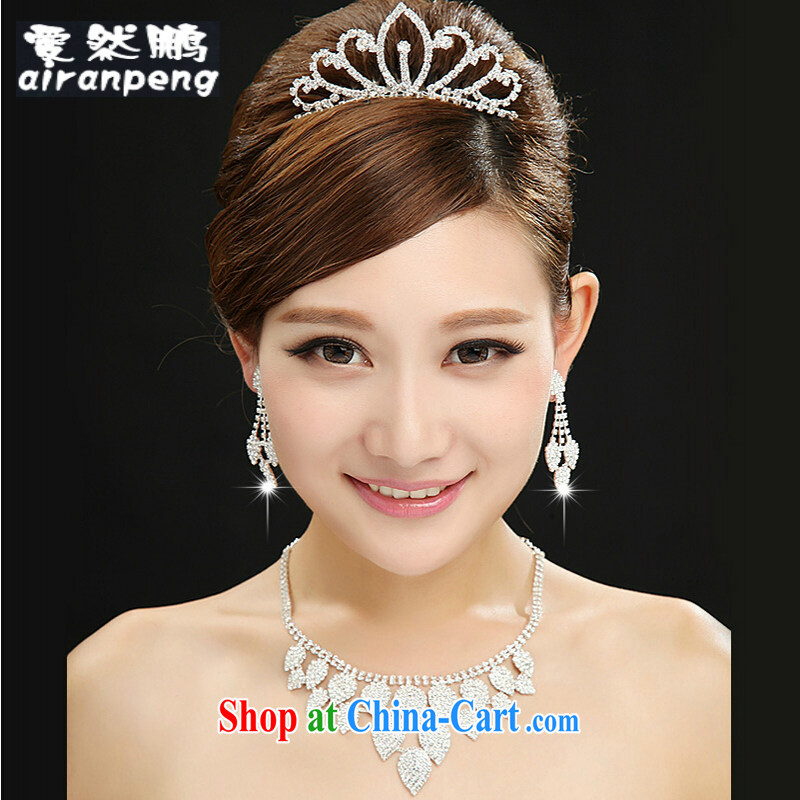 Bridal jewelry necklace earrings crown, hot head-dress 3 piece white wedding dresses with white