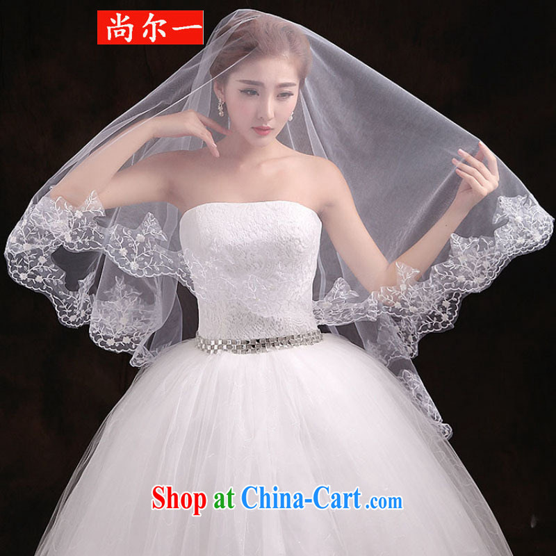 There's a bridal head yarn long-tail M lace and yarn wedding dresses tail head yarn T 3021 white 3M