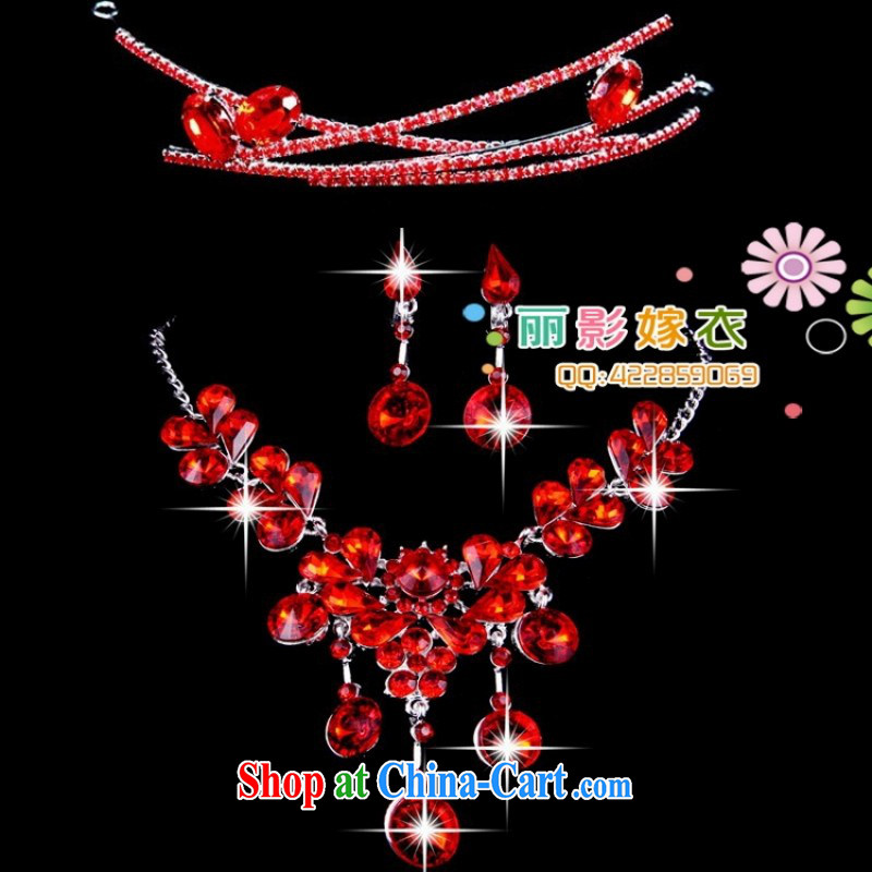 Bridal red 3 piece/wedding jewelry/head-dress Kit necklace wedding dresses accessories 01