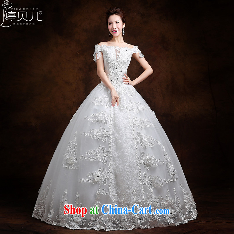 Ting Beverly wedding new, spring 2015 Korean bridal wedding fashion a shoulder to align the code drill wedding retro white XXL