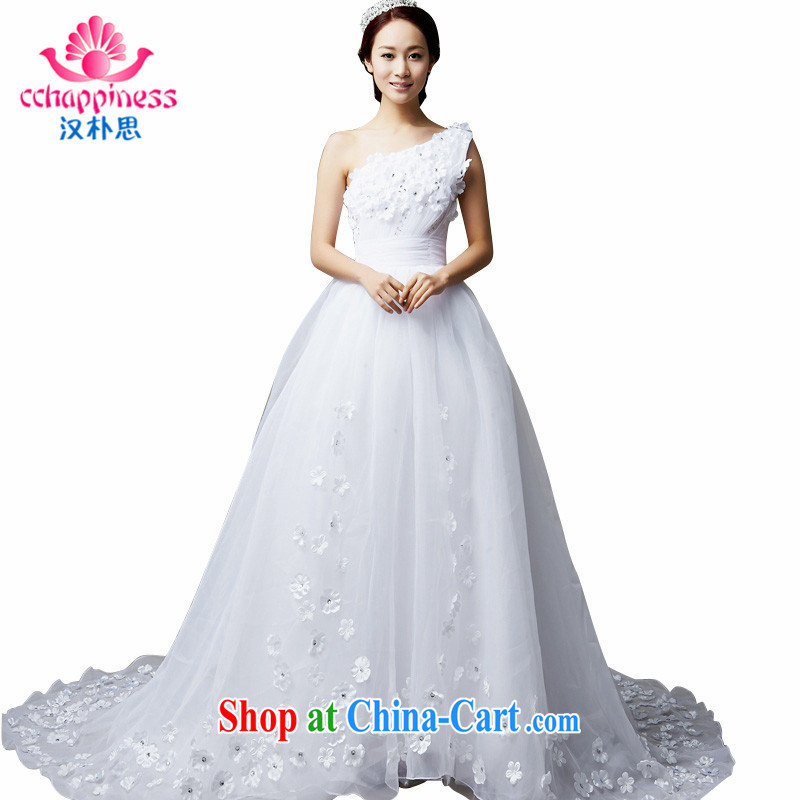 Han Park (cchappiness) 2015 new sexy single shoulder bridal wedding dream Web yarn flowers tail wedding white XXL (7 days shipping)