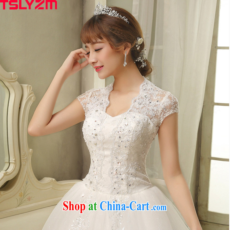 On Tslyzm Korean wedding elegant, for lace Openwork with skirt 2015 spring and summer new retro Palace, the wind shoulders bridal wedding dress white with shaggy wedding XXL
