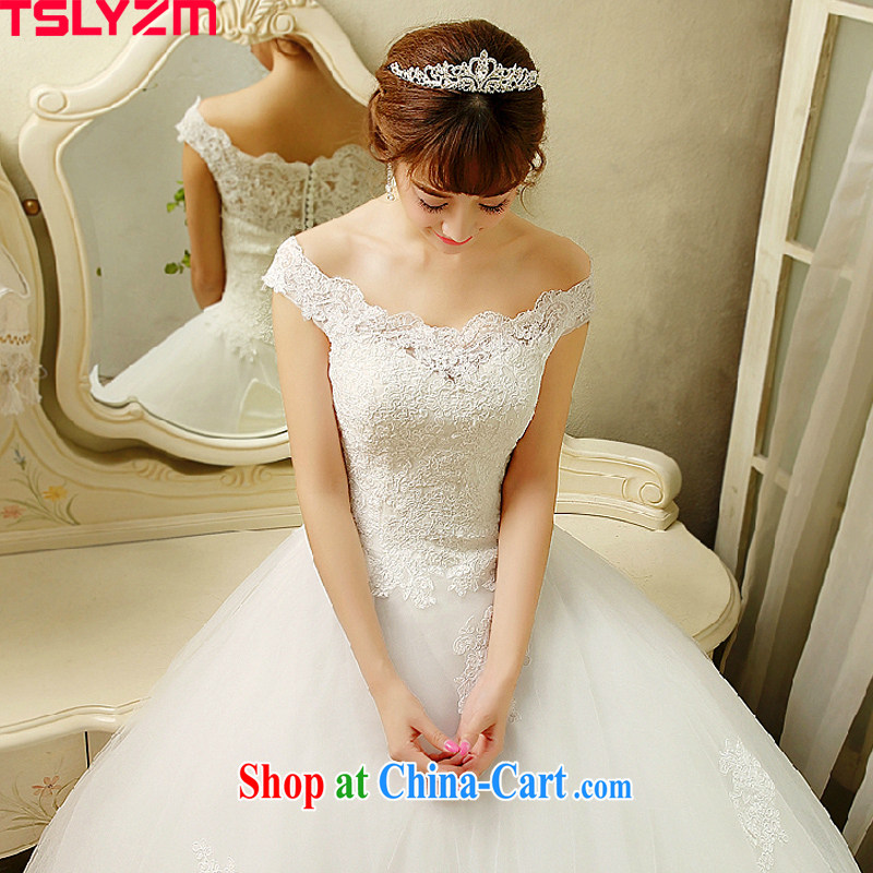 Tslyzm one shoulder wedding dresses 2015 spring and summer new marriages Korean-style lace beauty with shaggy white dress with S