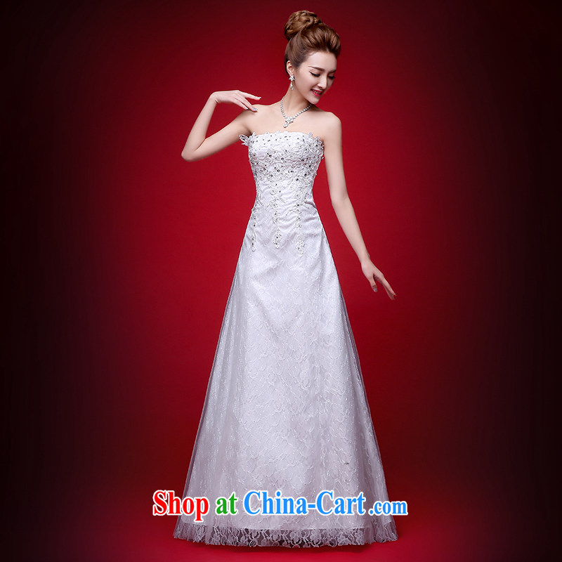 wedding dresses 2015 new summer Korean fashion Mary Magdalene Beauty Chest graphics thin wedding dress bridal wedding diamond jewelry the waist with tie-down the code wedding white XXL