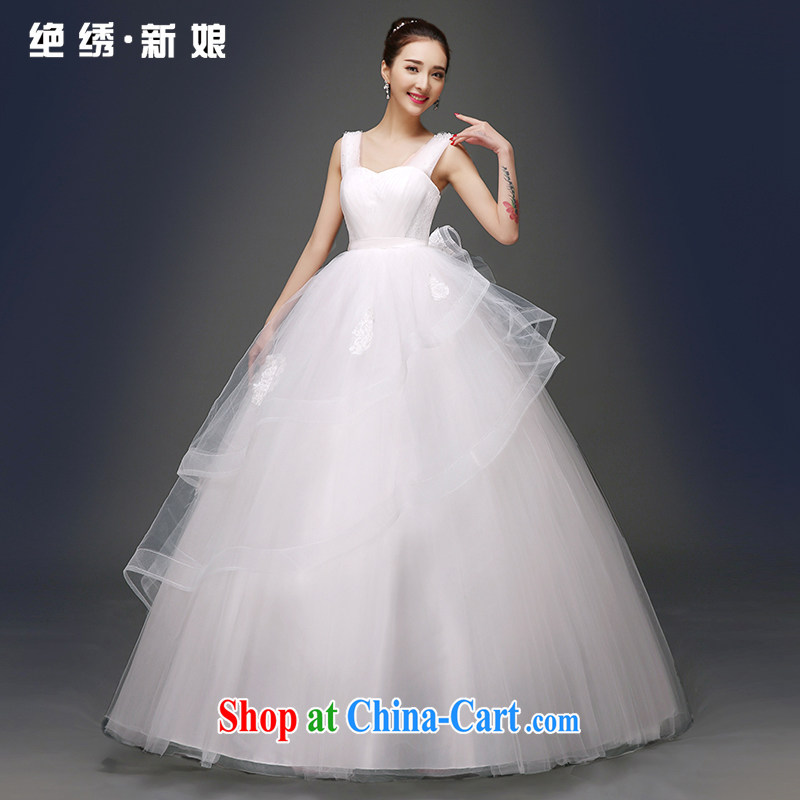 There is embroidery bridal wedding dresses 2015 spring and summer new stylish Korean double-shoulder cultivating the code graphics thin with shaggy dress white shoulders L code 2 feet 1 waist Suzhou shipping