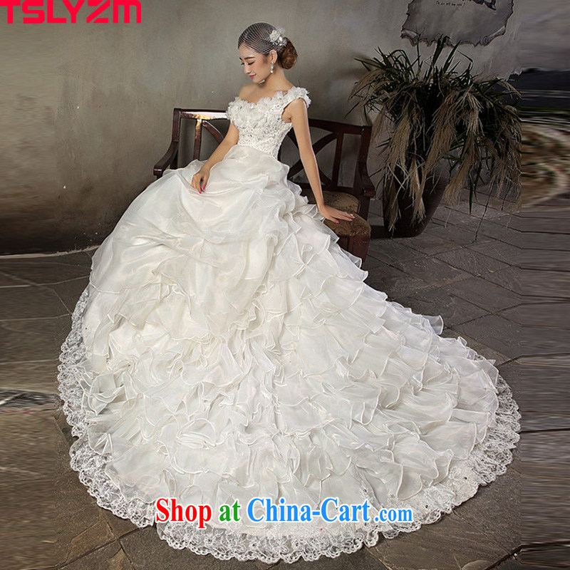 Click Tslyzm shoulder wedding dresses long-tail flowers 2015 spring and summer new ramp shoulder parquet diamond luxury tied with Korean video thin wedding dress white long-tail wedding XXL
