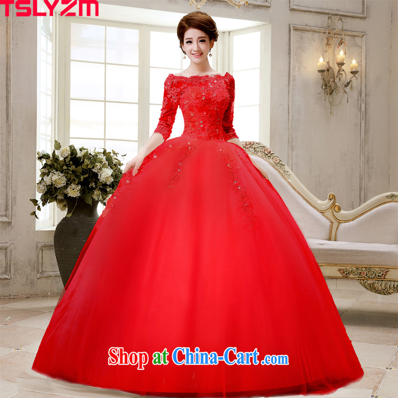 Tslyzm word aligned shoulder to tail wedding dresses 2015 spring and summer new, long-sleeved marriages water drilling lace skirt red with XL paragraph
