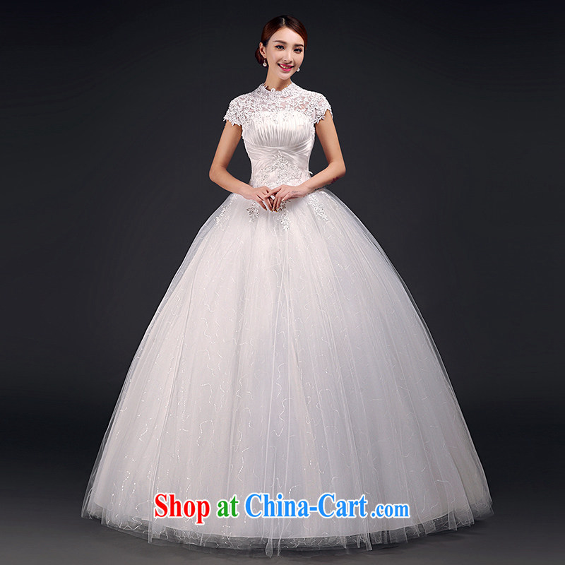 The field shoulder wedding dresses 2015 summer new lace back exposed Korean Princess bride wedding wedding, pregnant women with white XL