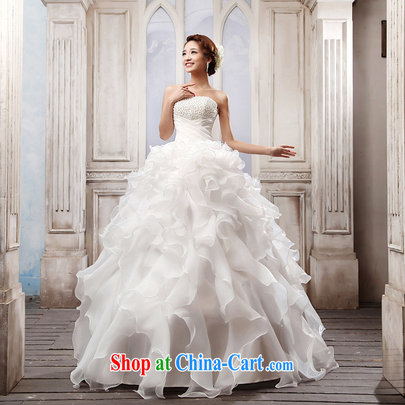 Mr. where Yu according to Korean wiped chest wedding white Princess tie with wedding new 2015 bridal wedding dresses spring and summer wedding wedding beauty graphics thin wedding white XL