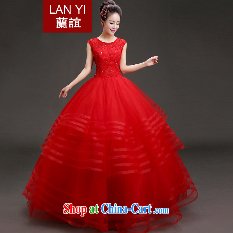 Friends, bridal wedding dresses Korean video THIN RED wedding field shoulder shaggy dress with marriages wedding red XXL code waist 2.4 feet