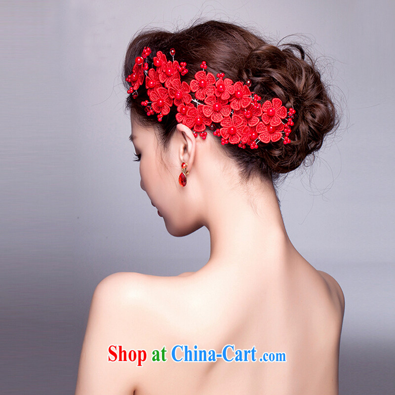 (Quakers) estimated 2015 bridal wedding dresses accessories bridal dresses red head-dress earrings wedding dresses and flowers flow Su earrings accessories and ornaments