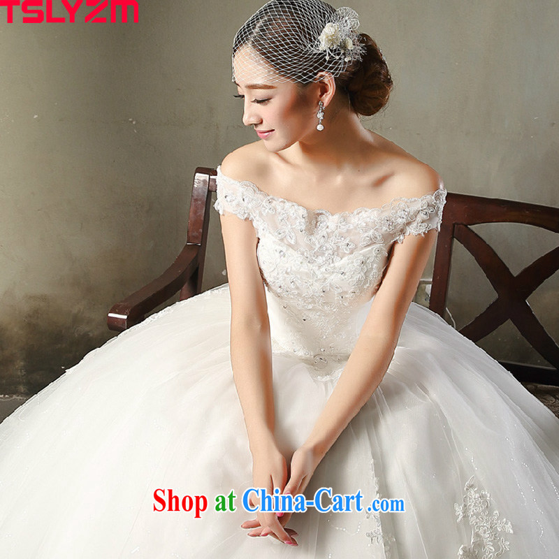 2015 Tslyzm New a Field shoulder wedding dresses girl brides spring and summer wedding beauty Korean tie-water drilling with satin damask skirt white XXL