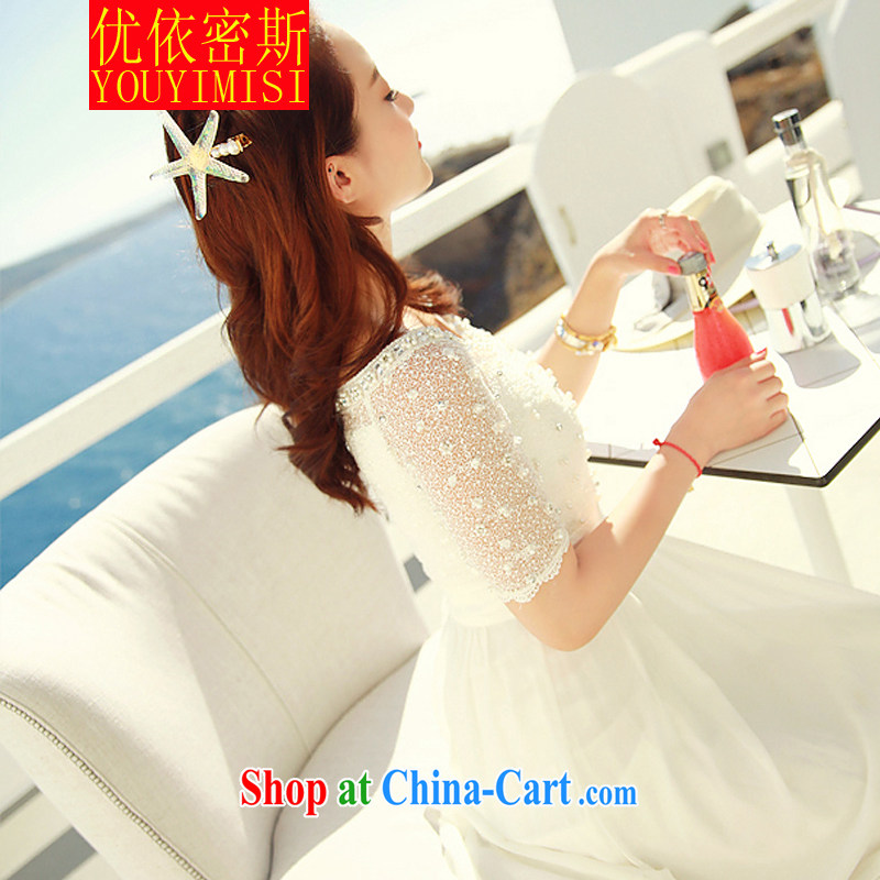 Optimize according to the 2015 lace snow woven dresses nails Pearl bohemian long skirt video thin resort beach long skirt white XL