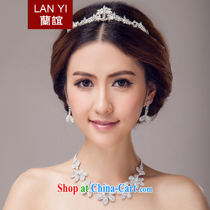 (Quakers, 2015 bridal wedding dresses accessories Korean bridal head-dress Crown necklace earrings 3 piece bridal jewelry wedding dresses accessories 3 piece set