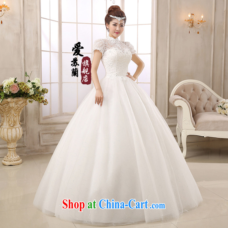 New wedding Korean style with bare chest wedding dresses Korean sweet Princess shaggy dress wedding stars with wedding a shoulder wedding white XXL so Balaam, and shopping on the Internet
